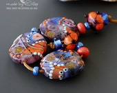 Handmade lampwork beads  l  free-formed   l  Coral Reef  l SRA   l  glass set   l   made by Silke Buechler