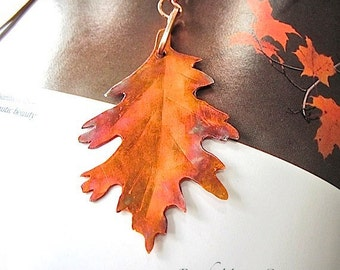 Autumn Leaves Woodland Bookmark Hammered Copper Antique Rustic Metalwork Fall Color Oak Leaf Eco Friendly Metal Unisex Gift for Bookworms