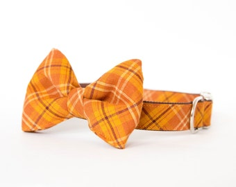 Fall Bow Tie Dog Collar - Pumpkin Plaid