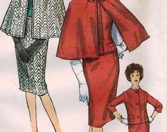1960s Simplicity 4132 UNCUT Vintage Sewing Pattern Misses Pencil Skirt, Tailored Jacket, Cape Size 12 Bust 32, Size 16 Bust 36