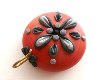 Portuguese Knitting Pin - Magnetic Portuguese Knitting Pin - Knitting Hook - Handmade Knitting Pin, Red, Black, Silver