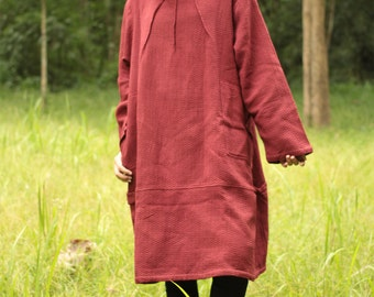 Long sleeve Tulip dress turtle neck...textured 2 layers thick cotton Maroon Red...(one size fit most)
