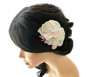 Wedding Hair Accessories - White Pink Ivory flower Hair Clip - Bridal Floral Head Piece