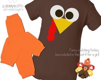 Funny thanksgiving bodysuit and leg warmer set - little turkey baby's first thanksgiving