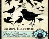 Bird Silhouette SVG, Bird Silhouette Photoshop Brush,  Digital Stamp, Digital Art, PNG, abr,ai,dfx,eps