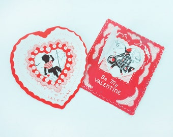 Two 1930s Silhouetted Valentine's Day Cards with a Travel Theme and Die-Cut Hearts