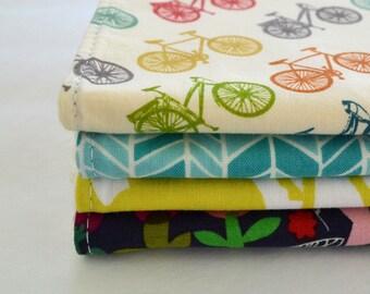 CHOOSE YOUR FABRICS . Set of 4 Baby Burp Cloths . Eco-Organic