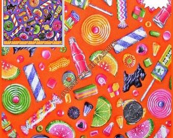 "Holly Holderman / Lakehouse ""Goody Bag"" Candy Cotton Fabric 1/2 Yard 18"" x 44"" (Make a Selection)"