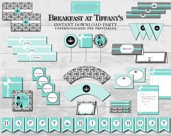 Breakfast at Tiffany's Birthday Party, Holly Golightly Bridal and/or Baby Shower Package - Printable PDF Files INSTANT DOWNLOAD