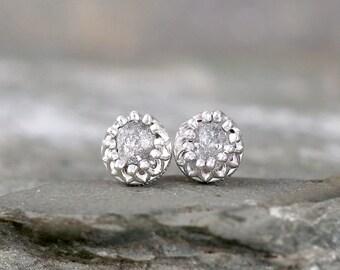 Raw Diamond Earrings - Sterling Silver Crown Setting - 1 Carat Stud Earring - April Birthstone - Uncut Gemstone - Conflict Free Diamonds
