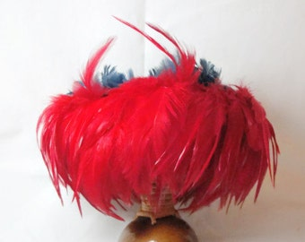 Vintage Hawaiian Hula Dance Gourd and Feathers Rattle
