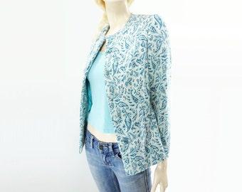 sale 60s Paisley Jacket, Vintage Aqua Wool, Aqua Blue Blazer, 60s Blue Blazer, Collarless Jacket, Wool Jersey Blazer, Wool Jacket Size S,