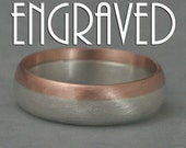 Solid 14K Rose Gold and Silver Rounded Wedding Band--Personalized Custom Inside Engraving -Two Tone Wedding Ring--Modern Men's Band