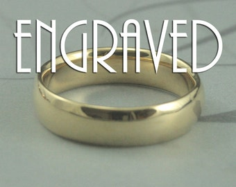 Solid 14K Gold 6mm Comfort Fit Wedding Band-Personalized and Engraved Gold Band-Wide Gold Band-Your Choice of Yellow,White or Rose Gold