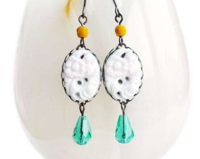 White Floral Earrings White Glass Dangles Vintage Carved Floral Earrings Aqua White Turquoise Jewelry Pastel Spring Jewellery