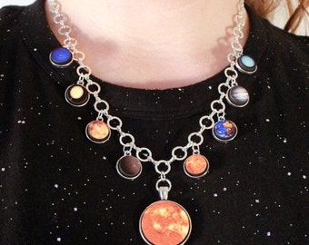 Solar System Necklace - Jewelry Space Science Planet Necklace