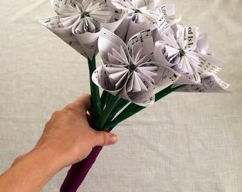 Custom Sheet Music Paper Flower Wedding Bouquet - Made to Order
