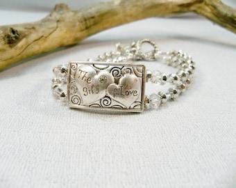Silver Women's Bracelet, Crystal Bracelet, 2 Strand bracelet, Silver Jewelry, Heart Bracelet, Cuff Bracelet