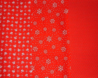 Small print Fabric - 3 Pieces of Printed Fabric - Red on White - Christmas Print