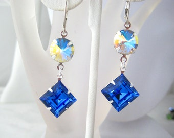 Swarovski Sapphire Square Double Cut With Crystal AB Rivoli Dangle Earrings Sterling Silver Ear Wire