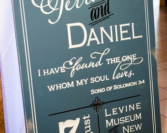 Terra and Daniel Carved Wedding Welcome Sign (W-070) - engraved lettering 42x30