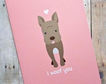 I Woof You Pit Bull Dog Love Card