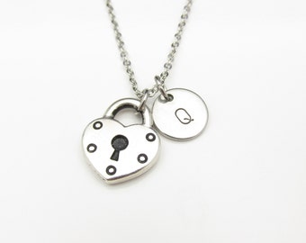 Heart Lock Necklace with Initial Charm (Y021). Silver Heart Shaped Padlock with Personalized Initial Letter. Antique Silver Stamped Monogram