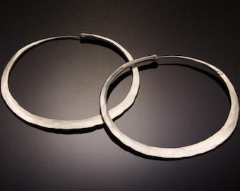 Giant Matte Silver Hoop Earrings