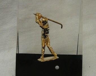 Vintage Golfer Paperweight Lucite Embedded Unique Canada