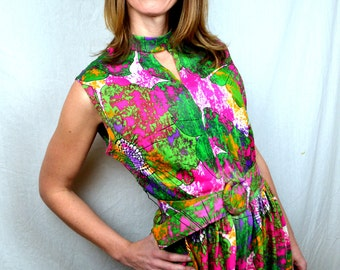 Vintage 60s Psychedelic Neon Maxi Dress