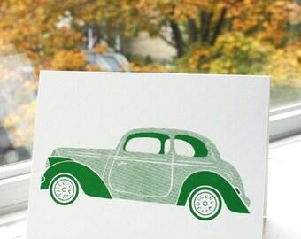 Greeting Cards - Transport Theme - GREEN AUTO - Original Screenprinted Art