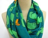 Cat Scarf Cat Pattern Infinity Scarf Summer Scarves Circle Scarf Loop Scarf Chiffon scarf gift Cat print gift warp scarf , SUPER SOFT.
