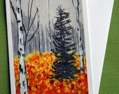Birch Autumn I - Hand painted Landscape Greeting Card