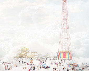 Beach Photography // Landscape Photography // Neutral Color Prints // Coney Island Beach Print for Modern Home Decor // Parachute Jump