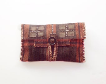 Unique Clutch Bag Mini Carrier Eco Bag Upcycled Orange Brown