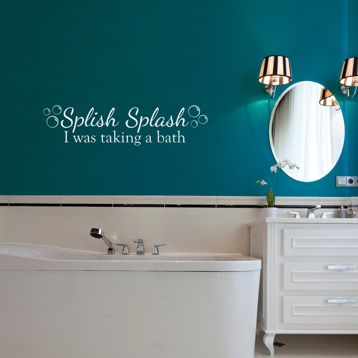splish splash wall decal with bubbles i was taking a bath. Black Bedroom Furniture Sets. Home Design Ideas