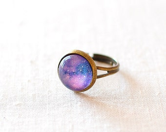 Purple Galaxy Ring. Space Ring. Glass Dome Ring. Adjustable Ring. Universe Jewelry. Speckled Purple Galaxy. Galaxy Jewelry.
