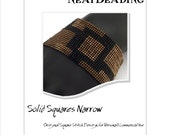 Pattern, Solid Squares Narrow, Beaded Bracelet, Square Stitch or Loomwork