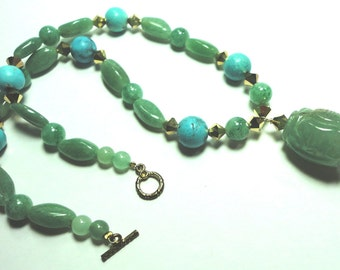 Aventurine Necklace Green Aventurine Carved Bead Necklace with Turquoise and Gold Swarovski Beads