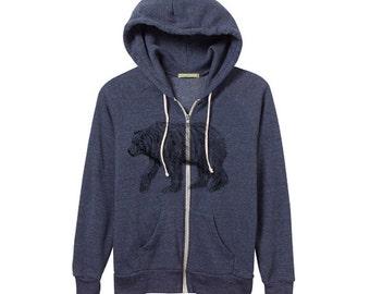 Unisex Bear Hoodie - Hand Drawn Bear - Heather Navy Zip Hoodie - Small, Medium, Large, XL - Eco Friendly Clothing