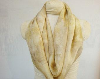 "Infinity Scarf - Eco Fashion Silk Scarf - Natural Dye - Gold Bronze Taupe - Eco Gift - HAI111433 - 11""x72"" (27 x 182 cm)"