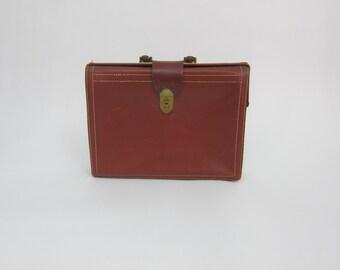 Vintage REXBILT COWHIDE Leather Brown Briefcase Laptop Bag