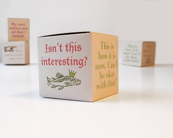 Zen box with mindfulness sayings. 6 DIY gift boxes, tiny boxes, 2 x 2 x 2 inch cubes. Calming DIY craft. Zen office decor.