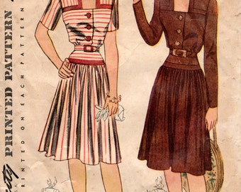 1940s Dress Pattern - Vintage Pattern Simplicity 4240 - Bust 32 Square Neckline Gathered Skirt