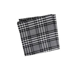 Paul - Black/White Plaid Pocket Square