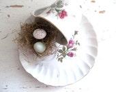 Vintage Shabby Chic China Tea Set. Woodland Moss Rose. Rustic Wedding Decor. Cottage Tea Party. French Farmhouse Decor