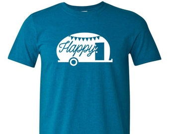 Happy Camper T-shirt - Adventure, camping, glamping, vintage camper, trailer, travel, wander t-shirt