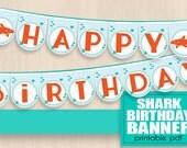 SHARK HAPPY BIRTHDAY Banner in Orange and Aqua- Instant Printable Download pdf