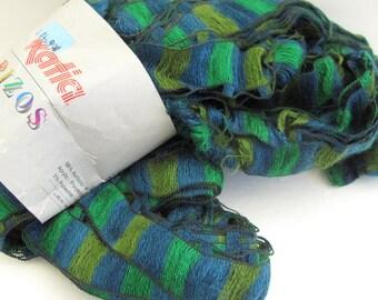 Rizos Novelty Ribbon Yarn by Katia - 1 Hank Blue and Green