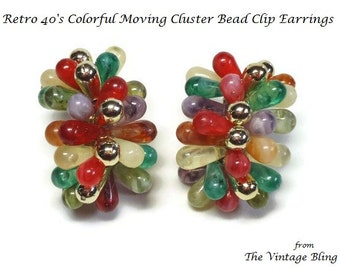 Retro Beaded Cluster Clip Earrings with Swivel Pear Shaped Art Beads & Gold Bead Accents - Vintage 40's Lucite Plastic Costume Jewelry